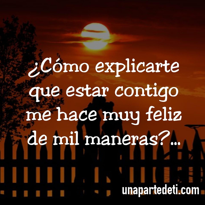 ¿Cómo explicarte que estar contigo me hace muy feliz de mil maneras?...
